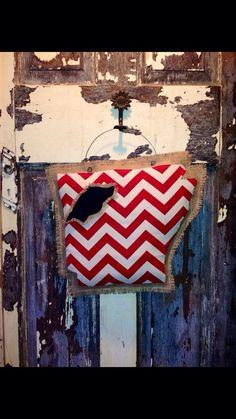 Arkansas razorbacks burlap hanger on Etsy, $35.00