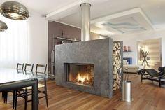 Chimenea moderna de doble cara (hogar cerrado de leña) - FLAMMA - ArchiExpo