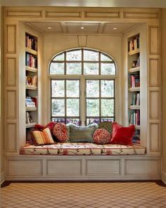 Reading nooks make me happy, I would LOVE to have one of these!!! looks like heaven!