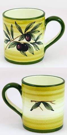 A beautiful ceramic mug decorated with green olives, leaves and branches on a white background. Accented with a light green border and a dark green rim. #Breakfast #green #tablesetting $34.49 Follow this link to see all our product in Green Olive pattern and their discounted prices: http://www.pietrafittaimports.com/ceramics.html?design_pattern=280