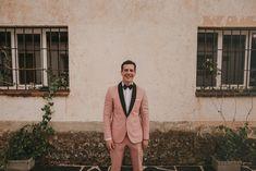 Groom in Pink Wedding Suit for Spanish Wedding   By Pablo Laguia   Spanish Wedding   Destination Wedding   Fairy Light Backdrop   Industrial Chic Wedding   Groom   Wedding Suit  