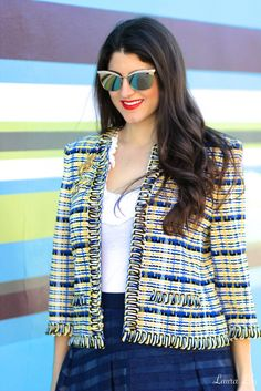 Fashion blogger Laura of Laura Lily spotted in a vintage #StJohnKnits jacket
