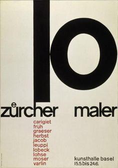 Poster for an exhibition: »10 Zürcher Maler - Kunsthalle Basel«. Design: Emil Ruder, 1957