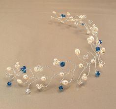 Capri Blue Blend Wedding Gown Tiara Hair Vine by BridalDiamantes, $58.00