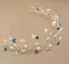 Capri Blue Blend Wedding Gown Tiara Hair Vine by BridalDiamantes, $58.00
