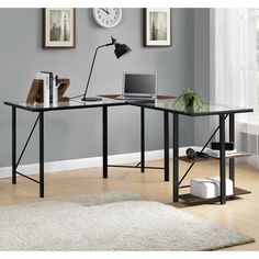 Ebern Designs Denby Glass L-Shape Computer Desk & Reviews | Wayfair