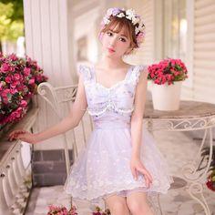 Sweet Lace Chiffon Gauze Bowknot Sleeveless Blue Lolita Dress