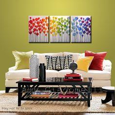 Art Rainbow schilderij drieluik grote bloemen door AmyGiacomelli