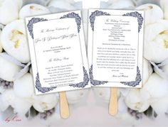 Printable Wedding ceremony fan program template Navy Blue by Oxee, $7.00