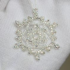 Crystal Lace Snowflake Ornament on Etsy nestled in its own keepsake tin - ready for giving! $12.00