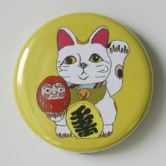 Lucky Fortune Cat 1.5 inch Pin Badge £1.50