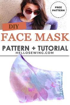 Stylish and reusable, simple to sew face mask with free pattern and step by step photo tutorial face mask sewing pattern Face Mask free pattern+DIY tutorial Sewing Patterns Free, Free Sewing, Free Pattern, Pattern Sewing, Sewing Hacks, Sewing Tutorials, Sewing Projects, Sewing Tips, Sewing Crafts
