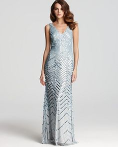 Adrianna Papell Beaded Gown - V Neck front and back, $340, dusty blue