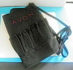 """Avon Rep Lipstick Sample Apron w/Pockets Black w/16 sm 1 lg pocket 66"""" long #Avon"""