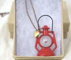 Lantern Necklace Red Brass Chain Gold Heart by daileedose on Etsy, $40.00