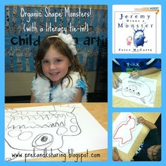 Organic Monster Shapes with a literacy tie-in from the Art teacher at PreK+K Sharing