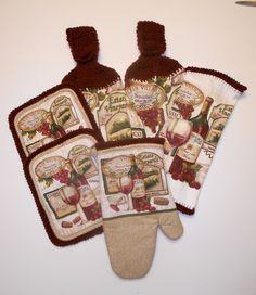 kitchen towel set crochet hanging towels vineyard themed kitchen set - Kitchen Towel Sets