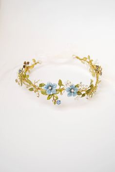 Light blue flower hair crown Bridal floral halo Something
