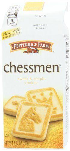 Pepperidge Farm Chessmen Cookies, 7.25-ounce (pack of 4) Pepperidge Farm Sweet & Simple Cookies http://www.amazon.com/dp/B004P7QDH8/ref=cm_sw_r_pi_dp_WTIiub1S2QH44