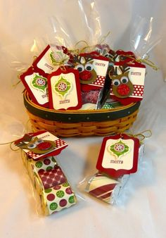 cute Christmas tags Rudolph punch art with owl punch & chalk talk framelits dies