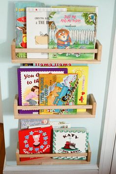 Spice Rack turned Kids Book Storage --always looking for more book storage!