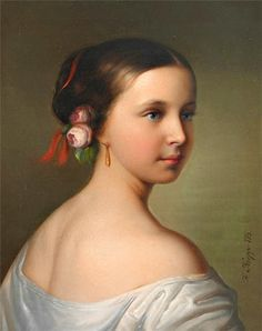Painting of Grand Duchess Alexandra Iosifovna of Russia as a young German princess, by Joseph Karl Stieler, c. 1840s.