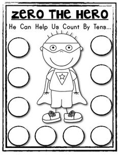 ZERO THE HERO Math Helper! Count by Tens 3 different pages included! You could you this to see what the students know about counting by This would fit under Marzano's homework and practice. Preschool Math, Kindergarten Worksheets, Fun Math, Teaching Math, Maths, Teaching Ideas, Math School, School Fun, School Stuff