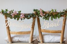 Chair signs bride groom for wedding ›Wedding decoration - The Little Wedding Corner Shop Diy Wedding Bouquet, Wedding Blog, Wedding Gifts, Wedding Chair Decorations, Elegant Centerpieces, Bride Groom, Marie, Rustic Weddings, Outdoor Weddings