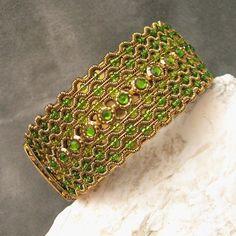 Wide Clamper Bracelet Hinged Bangle ~ Green