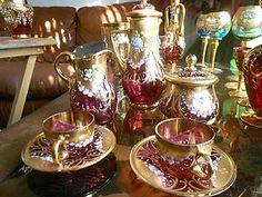 Image detail for -Bohemian Moser Enamel Flowers Gold Gilded Cranberry Art Glass Tea Set ...