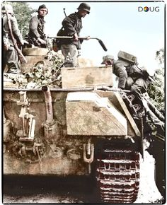 "Pioniers with a Minensuchgerät (mine detector) ""Wien 41"" climbing aboard a Pz.V Panther Ausf. G. (Colourised by Doug)"