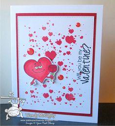 Your Next Stamp: Heart Ink Splatter, Lovestruck, Sparkle Coral Red Gumdrops  #yournextstamp