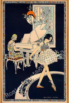 Items similar to Pianist and Girl Dancer Art Deco Print ~ Gladys Peto - Art Print ~ Dance Studio Decor ~ Music decor ~ Cottage Decor ~ Nostalgia Art on Etsy Art Deco Print, Art Deco Design, Art Prints, Dragons, Nostalgia Art, Poses Photo, Art Deco Illustration, 1920s Art, Commercial Art