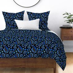 Floral Duvet Cover - Orchid And Navy Floral by lucybaribeau - Batik Navy Orchid Lavender Cotton Sateen Duvet Cover Bedding by Spoonflower Cozy Bed, Custom Duvet, Duvet Comforters, Duvet, Duvet Cover Design, Floral Duvet, Bed, Floral Duvet Cover, Duvet Covers