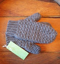Pure Virgin Wool Crochet Mittens in Natures Brown Handcrafted with 100% Pure Virgin Un-Dyed Wool. Soft, Warm and Naturally Water Resistant