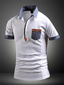 White Shaping Print Cotton Polo Shirt for Men Camisetas Tipo Polo 4bcde2a24f28c