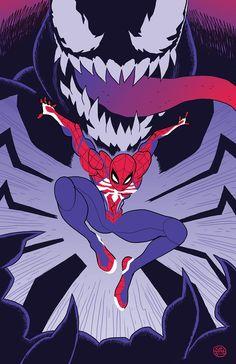 Spider-Man and Venom by Babs Tarr * - Art Vault Marvel Comics, Marvel Venom, Marvel Art, Marvel Heroes, Spiderman Art, Amazing Spiderman, Venom Art, Spectacular Spider Man, Marvel Drawings