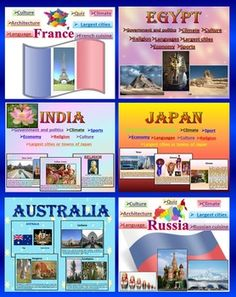 Countries of the World - BUNDLE - Japan - India - Australia - Egypt - Russia -  FranceQuiz - Climate - Religion - Economy - Culture - Sport - Interactive slide showEach of my country  are also sold SEPARATELY for $4.40 each.1. JapanJapan Quiz - Climate - Religion - Economy - Culture - Sport - Interactive slide showThis is a beautiful and informative 44 slide PowerPoint presentation.This is a super fun slide show. *Government and politics*Administrative divisions*Largest cities or towns of…