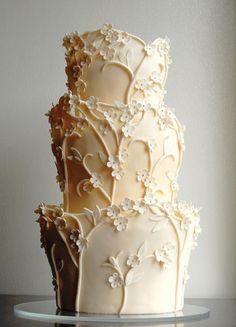 Ivory flowering trees ~ we ❤ this! moncheribridals.com #ivoryweddingcake