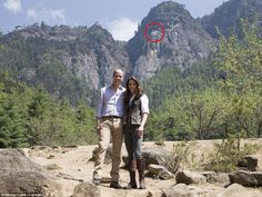 Hike to the top: William and Kate continued their  tour with a trek to the breathtaking Tiger's Nest monastery in Paro Taktsang (circled)