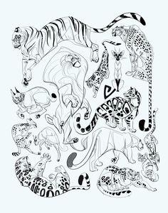 Art of Erika Worthylake Animal Sketches, Animal Drawings, Art Sketches, Drawing Animals, Character Design References, Character Art, Animal Jaguar, Big Cats Art, International Cat Day