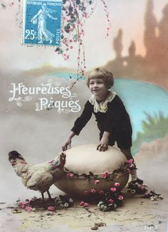 Giant Easter Egg * Hen Photograph on postcard * Happy Easter antique Greeting card * French ephemera 1910s
