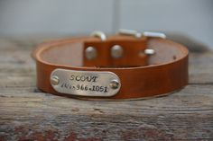 Personalized Leather Dog Collar with Choice by MarlonBrandLeather