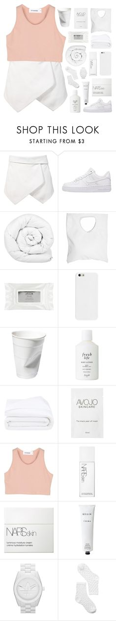 """""""MY FRIENDS ALL FEEL THAT I'M DIFFERENT AROUND YOU"""" by feels-like-snow-in-september ❤ liked on Polyvore featuring NIKE, Brinkhaus, Jennifer Haley, Stila, Fresh, Frette, StyleNanda, NARS Cosmetics, Rodin and adidas Originals"""