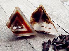 agate druzy slice earrings raw stone rough gemstone by MisMundos, $45.00