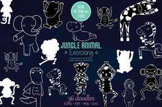 Jungle Animals, Vector Graphics, Design Bundles, How To Draw Hands, Elephant, Doodles, Diy Projects, Clip Art, Doodle