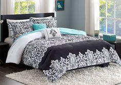 Black & Turquoise Teal Blue Comforter Set Elegant Scroll Teen Girl Bedding Twin XL Full/Queen