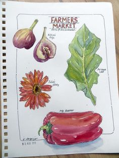 "JANE LaFAZIO: from my sketchbook ~ ""Farmers Market"" (12×9 inches) ©2013"