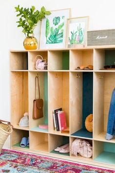 DIY Color Block Storage Lockers Storage And Organization storage locker organization Locker Organization, Locker Storage, Clothes Storage, Diy Clothes, Organization Ideas, Storage Hacks, Diy Storage, Plywood Storage, Entryway Storage