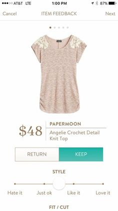***want!!*** Papermoon angelie crochet detail knit top stitch fix - Love that this is Annette casual top but it has some fun details to it